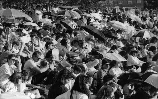 closeup0 of crowd at Lubbock on Aug 15, 1988